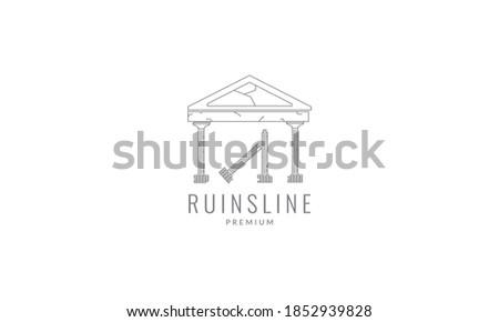 monument ruins logo vector icon