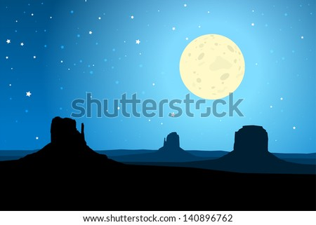 Monument Valley Arizona Against a Starry Night Sky, EPS10 Vector