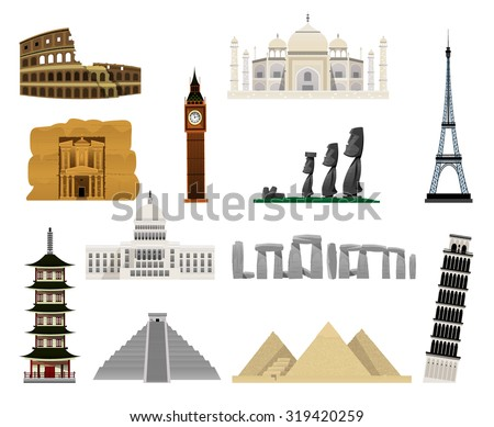 monuments modern flat icons