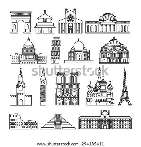 monuments thin line vector