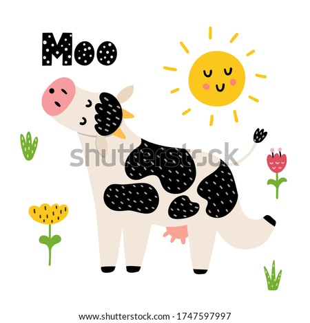 Moo card with a funny cow. Cute print for kids with farm animal. Nature background. Vector illustration
