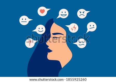 Mood swing concept. Many emotions surround young female with Bipolar disorder. Woman suffers from hormonal with a change in mood. Mental health vector illustration Сток-фото ©