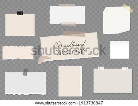 Moodboard Blank template with different notes on sticky tape and binder clips, pieces of torn paper, reminder card. Mockup on transparent background. Vector 3d realistic. EPS10. Zdjęcia stock ©