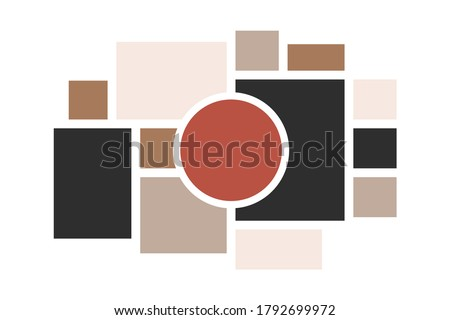 Moodboard layout. Photo frames mosaic minimalist template, collage grid arrangement for presentation. Vector illustration photo album page or inspiration blog tile template mood Photo stock ©