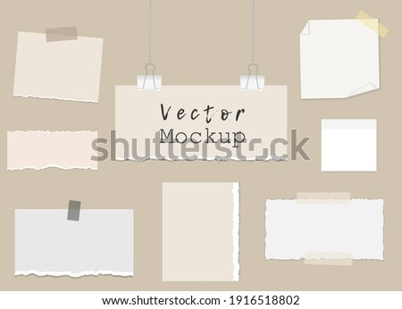 Moodboard template composition with piece of torn paper on binder clips, different notes on sticky tape, reminder cards. Mockup on a beige background. Vector 3d realistic. EPS10. Zdjęcia stock ©