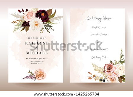 Moody boho chic wedding vector bouquet cards. Warm fall and winter tones. Orange red, taupe, burgundy, brown, cream, gold, beige, sepia autumn colors. Rose flowers, dahlia, ranunculus, pampas grass
