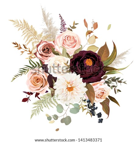Moody boho chic wedding vector bouquet. Warm fall and winter tones. Orange red, taupe, burgundy, brown, cream, gold, beige, sepia autumn colors. Rose flowers, dahlia, ranunculus, pampas grass, fern.