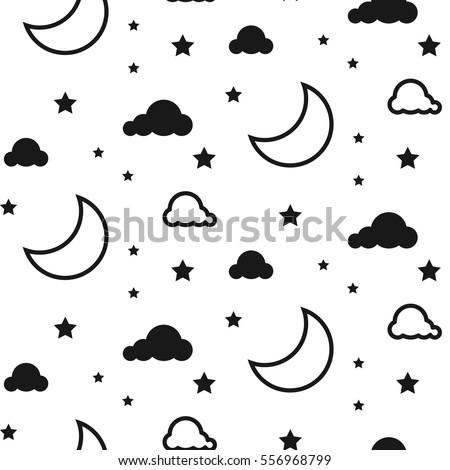 moon and clouds seamless kid