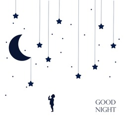 Moon and dreaming baby. Concept idea. Good night . Place for your text. Vector illustration. EPS 8