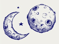 Moon and lunar craters. Doodle style