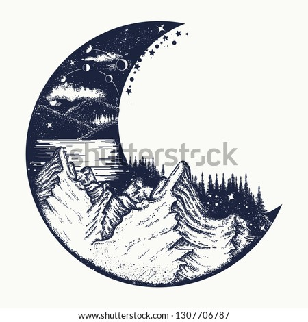 Moon and mountains tattoo and t-shirt design. Infinite space, meditation symbols, travel, tourism. Surreal graphics