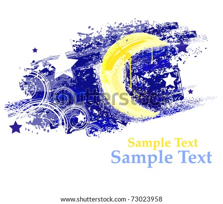 Stock Photo moon and night sky with stars painted saturated yellow and blue paint.