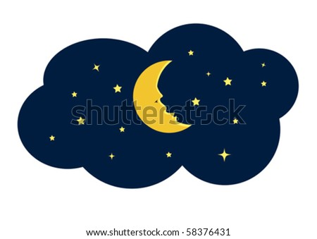 Moon and Star at Night Illustration in Vector