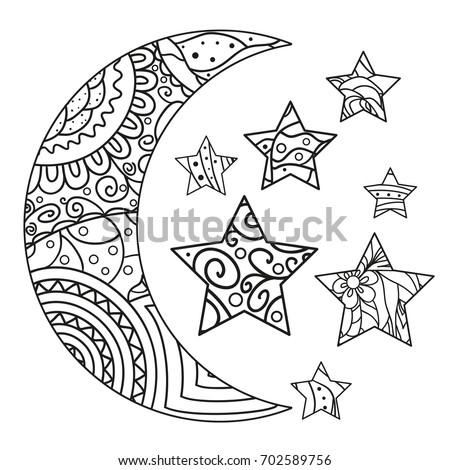 moon and star with abstract