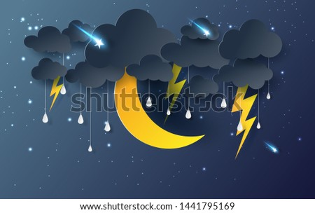 moon and star with Mystical Night sky fantasy background.Dark Cloudscape and stars fall in rain season.Moonlight at night.Creative design paper cut and art .thunderstorm midnight.Vector .illustration.