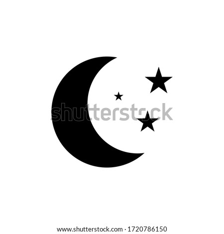 Moon and stars at night flat vector icon illustration isolated on white background Photo stock ©