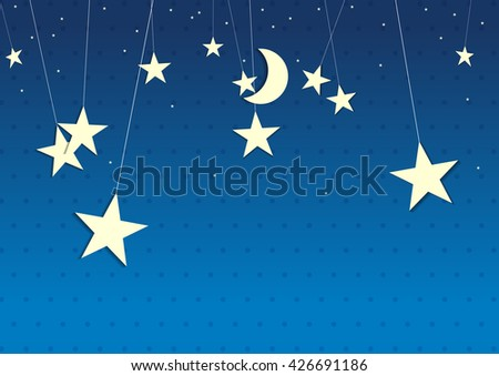 moon and stars cute paper design