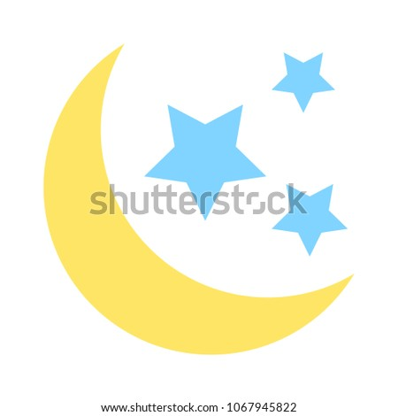Moon and stars dark night icon - graphic dark moonlight illustration