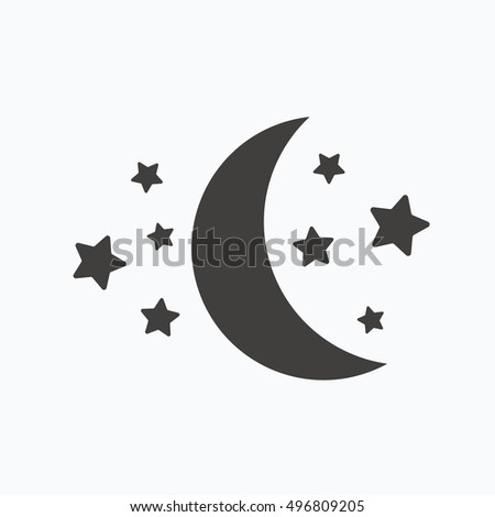 moon and stars icon night
