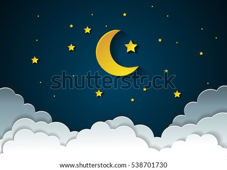 moon and stars in midnight