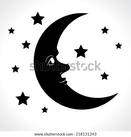 moon and stars isolated on