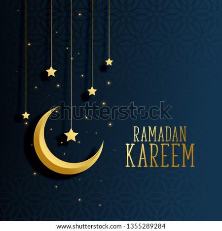 moon and stars ramadan kareem background