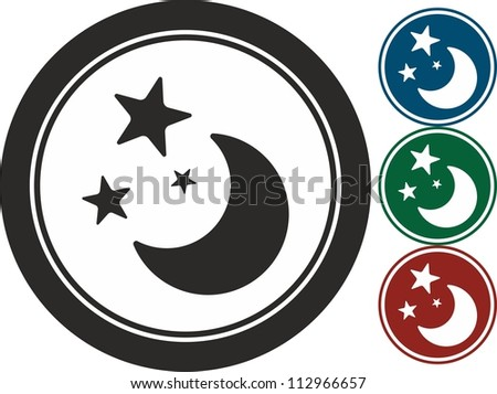 Moon and stars, vector, icon