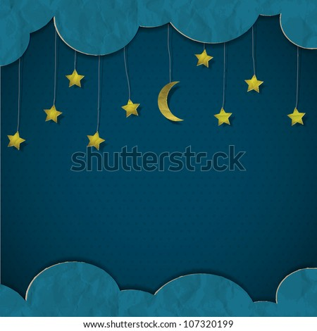moon and stars vector paper art