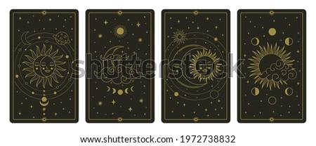 Moon and sun tarot cards. Mystical hand drawn celestial bodies cards, magic tarot card vector illustration set. Magical esoteric tarot cards. Magic spiritual card, astronomy tarot card, sketch vintage