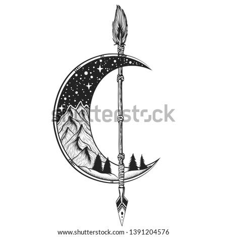 moon  arrow tattoo vector