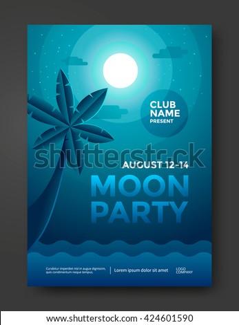 moon beach party poster design
