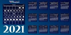 Moon calendar, 2021 calendar on a blue background