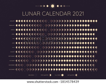 Moon calendar 2021. Lunar phases cycles dates, full. New and every phase in between, moon schedule monthly calendar year vector illustration. Lunar calendar at year, template monthly schedule