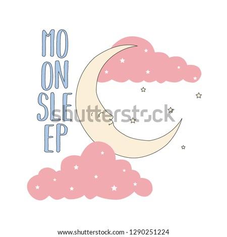 moon cloud star text girl tee illustration art vector