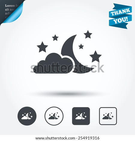 moon  clouds and stars icon