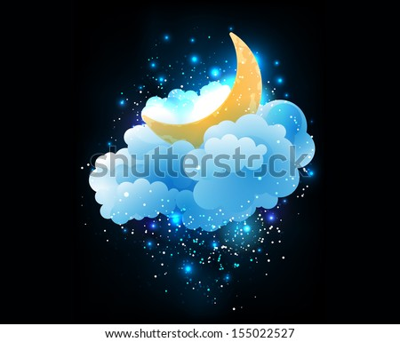 moon  clouds and stars sweet