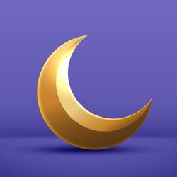 moon half month is gold on purple background. crescent decor element for ramadan Kareem celebration. vector design.