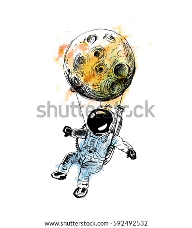 moon hanging astronauts space