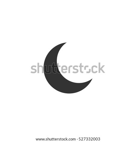 Moon icon flat. Illustration isolated vector sign symbol