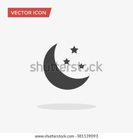 Moon Icon in trendy flat style isolated on grey background. Nighttime symbol for your web site design, logo, app, UI. Vector illustration, EPS10.