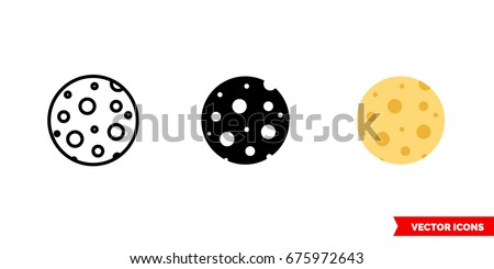 moon icon of 3 types  color
