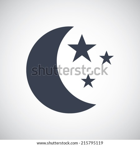 moon icon with stars in flat