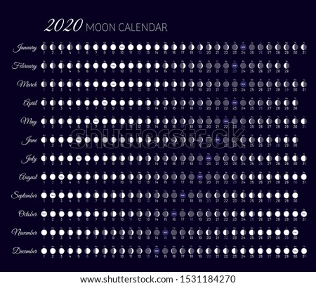 Moon illumination and moon age at 2020 year. Daily planner of lunar cycles. Moon stages calendar on black background. Dates for full , new moon and every phase in between vector illustration.