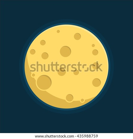 Moon in flat dasign style. Night space astronomy and nature moon icon. Gibbous vector on dark background. Cartoon planet moon icon. Science astronomy Earth satellite in space