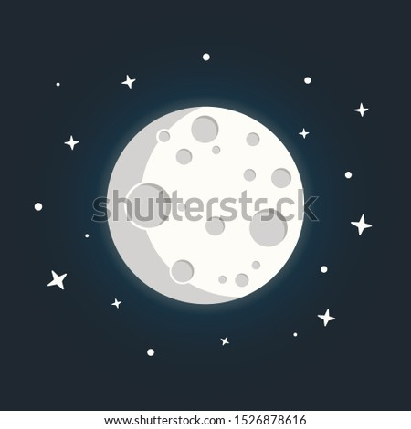 Moon in flat dasign style. Night space astronomy with moon and stars.