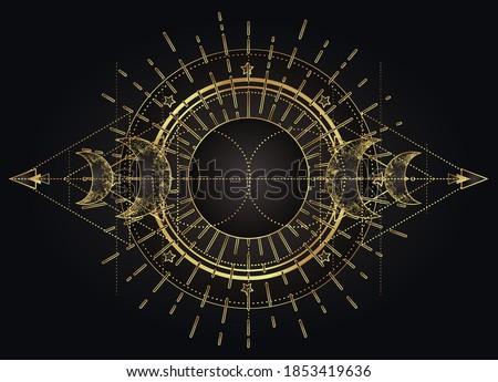 Moon magic. Triple moon pagan Wicca moon goddess symbol. Three-faced Goddess: Maiden – Mother – Crone vector illustration.  Tattoo, astrology, alchemy, boho and magic symbol golden over black.