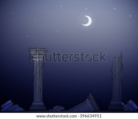 moon night and ruins of marble