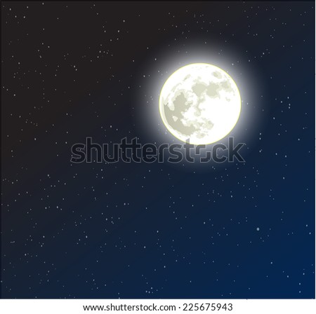 moon on a starry dark blue