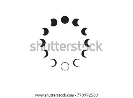 Moon phases  astronomy icon set Vector Illustration on the white background.