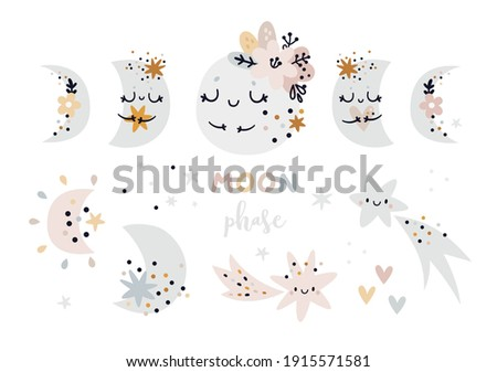Moon phases baby clipart. Creative illustration for kids with moon and stars. Cartoon clip art in boho style. Moon Child clip art, Bohemian moon. Ideal for kids room decoration, clothing, prints